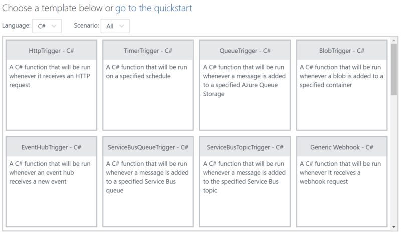 Getting Started Templates for Azure Functions