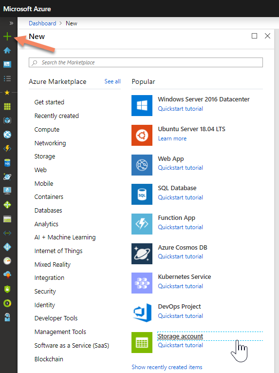 Dialog to select new Azure service
