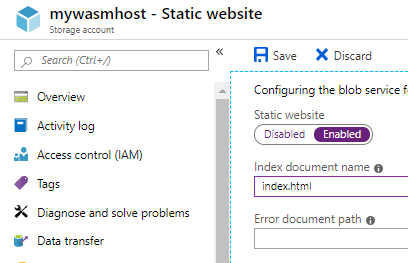 Dialog to enable static website