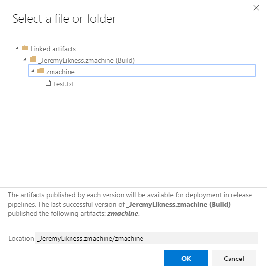 Choose the artifacts folder